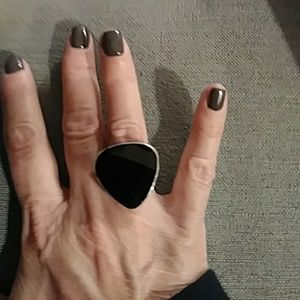 Jewelry - Black glass and sterling ring